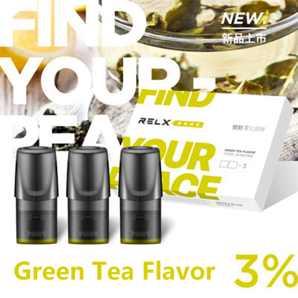 Green Tea Flavor Relx Cartriges 3pcs / Pack - 3% Nicotine